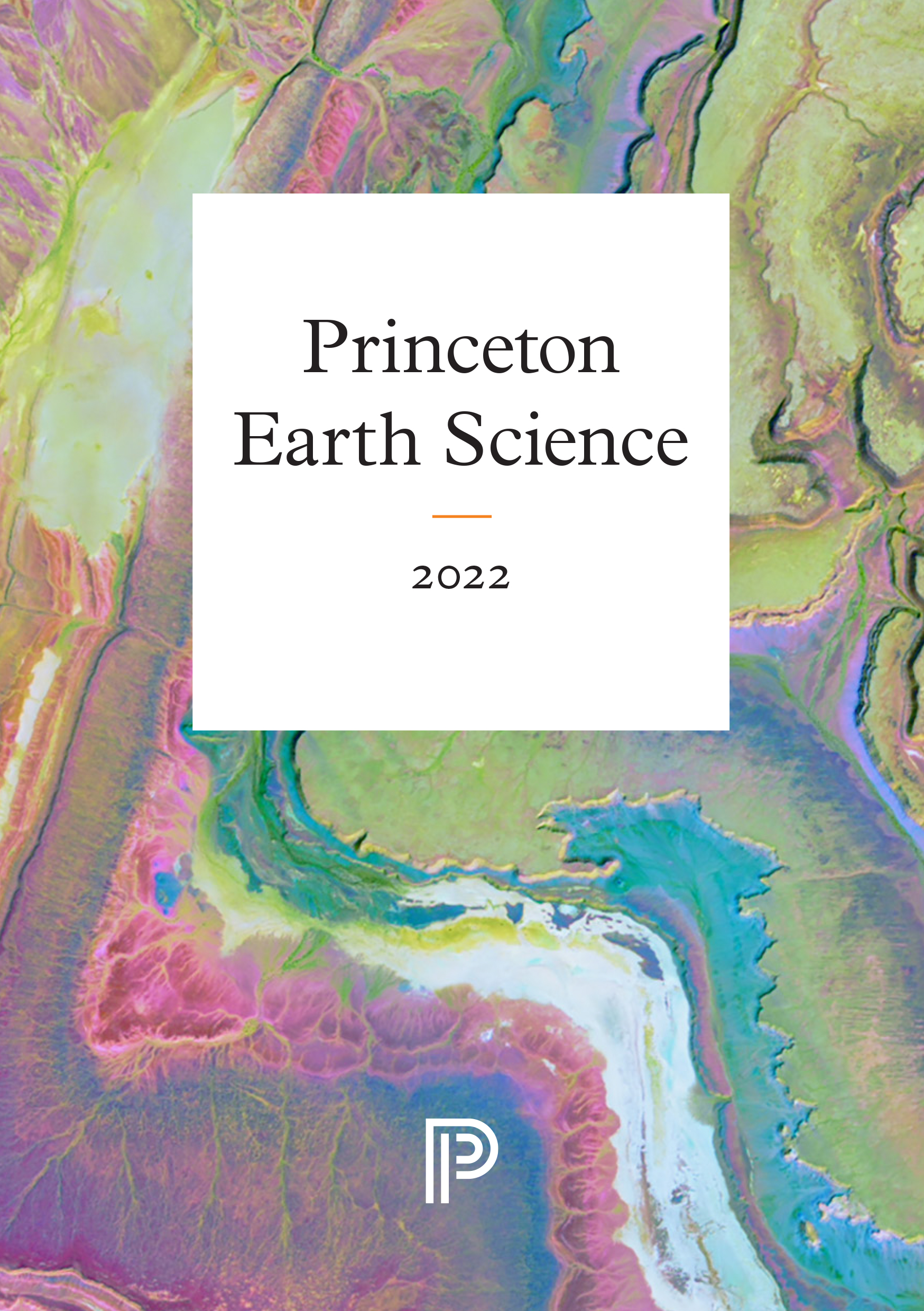 Colorful cover of Earth Sciences 2022 subject catalog. Shades of pink, purple, green, and blue.