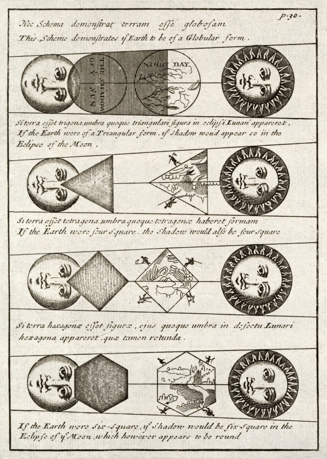 Four diagrams of Solar eclipses (1711) by Johannes Buno