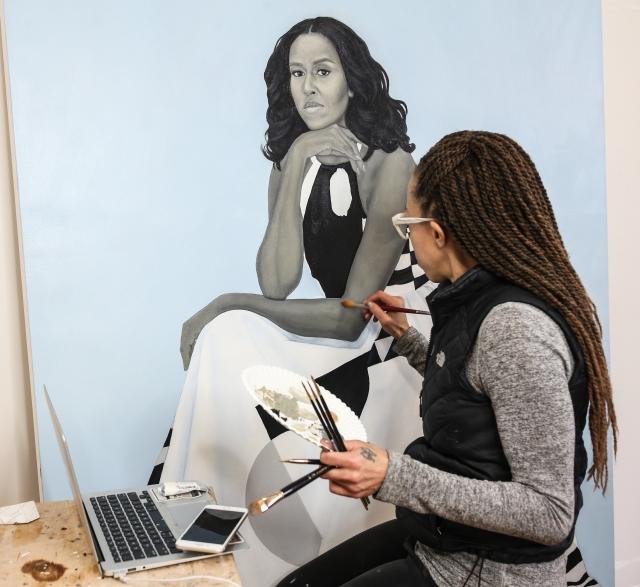 Amy Sherald paints Michelle Obama portrait