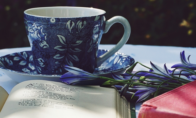 Photo of teacup and notebook