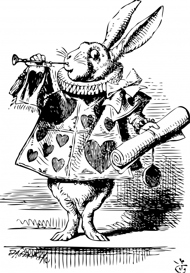 White Rabbit, dressed as herald, blowing trumpet Alice's Adventures in Wonderland original vintage engraving.