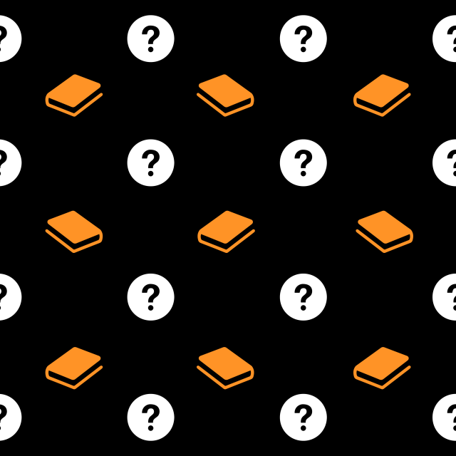 books and question marks pattern