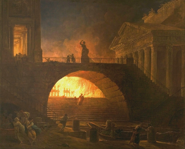 painting depicting the Great Fire of Rome