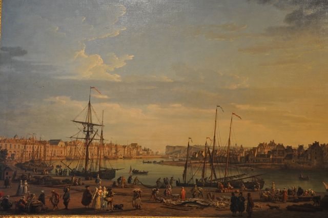 painting of ships in a harbor; bystanders on shore
