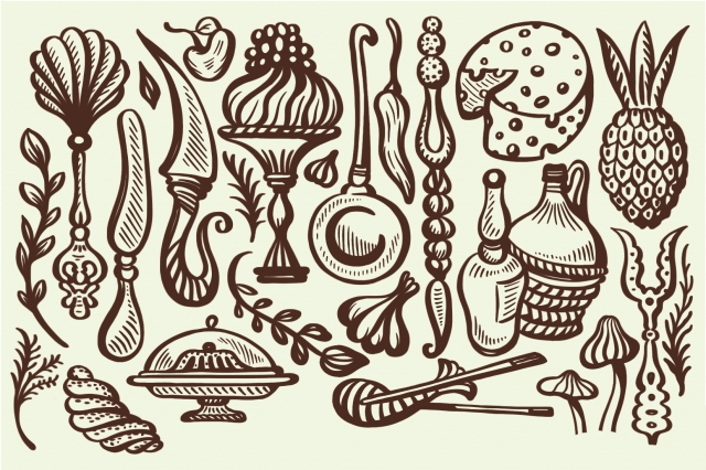 Illustration early foods and utensils