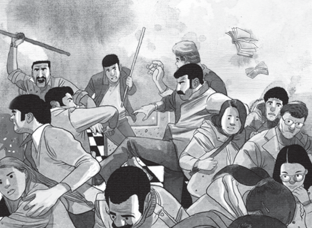 illustration of a violent scene with people fighting and running