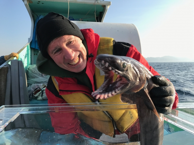 David Ebert holding a shark