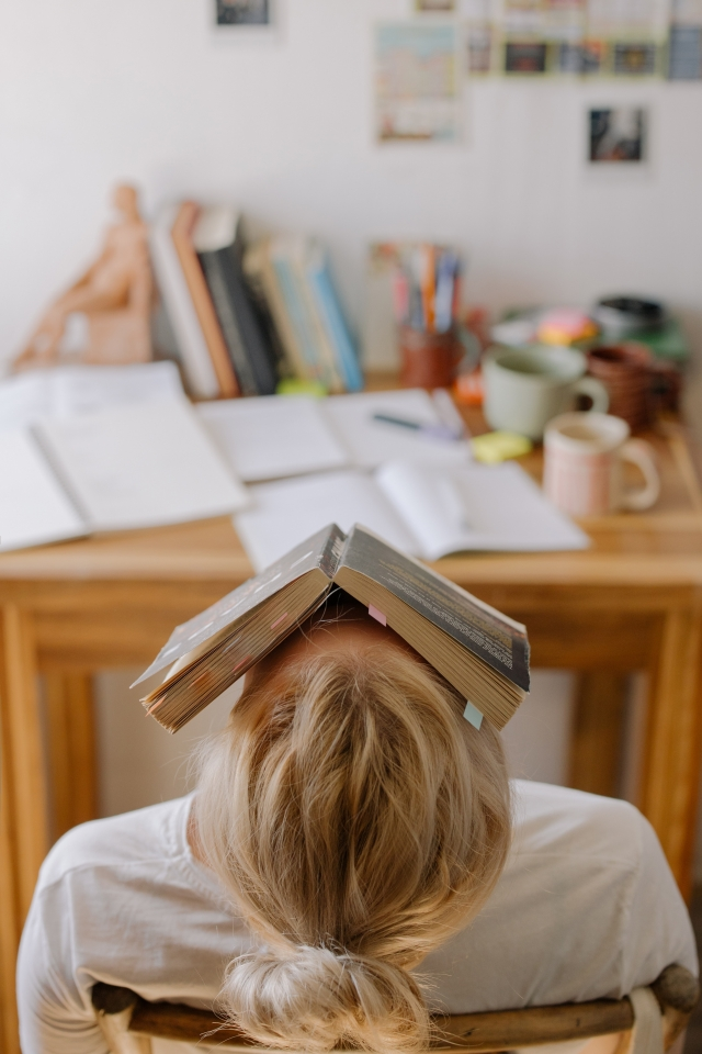 Photo of person sitting with book covering their face