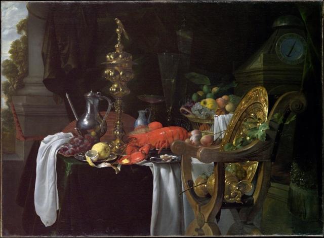 Still life painting of a banqueting scene by Jan Davidsz de Heem