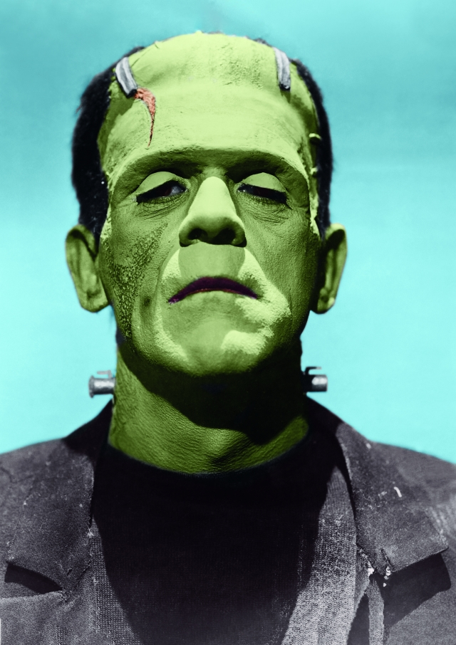 Portrait photo of Boris Karloff in Frankenstein costume