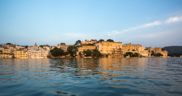 Lake view of the City Palace complex, overlooking Lake Pichola, Udaipur